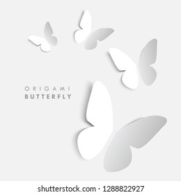 Paper cut butterflies. Vector origami butterflies. White on white