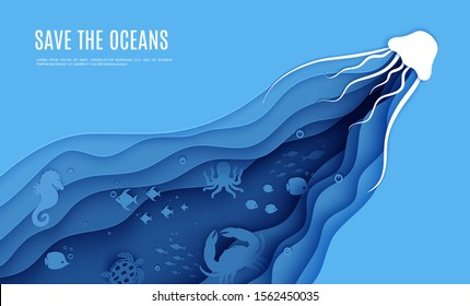 Paper cut butterflyfish, jellyfish, moonfish, turtle, hippocampus, crab, octopus. Paper craft background under ocean cave with fishes coral reef seabed in algae waves. Vector sea marine life concept