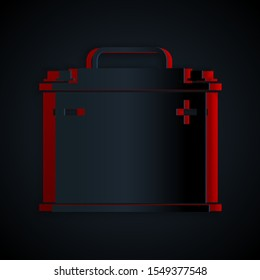 Paper cut Car battery icon isolated on black background. Accumulator battery energy power and electricity accumulator battery. Paper art style. Vector Illustration