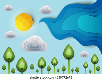 Paper cut cartoon green plants with sun and clouds in realistic trendy craft style. Modern origami design. Nature landscape background concept for greeting card, banner. Vector illustration.