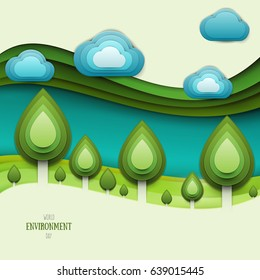 Paper cut cartoon nature landscape with green tree, hills and clouds in realistic trendy craft style. Modern origami design. World environment day concept greeting card, banner. Vector illustration.