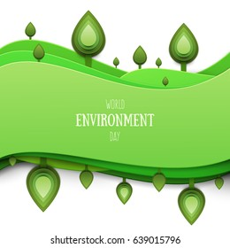 Paper cut cartoon nature landscape with green plant, fiels and hills in realistic trendy craft style. Modern origami design. World environment day concept greeting card, banner. Vector illustration.