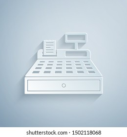Paper cut Cash register machine with a check icon isolated on grey background. Cashier sign. Cashbox symbol. Paper art style. Vector Illustration