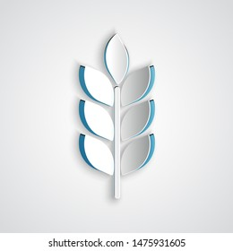 Paper cut Cereals set with rice, wheat, corn, oats, rye, barley icon isolated on grey background. Ears of wheat bread symbols. Agriculture wheat. Paper art style. Vector Illustration