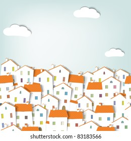 Paper cut city panorama. seamless vector pattern