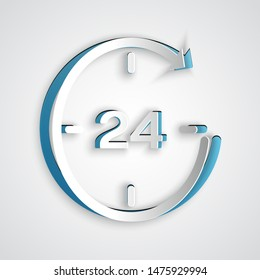 Paper cut Clock 24 hours icon isolated on grey background. All day cyclic icon. 24 hours service symbol. Paper art style. Vector Illustration