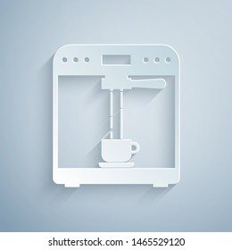 Paper cut Coffee machine and coffee cup icon isolated on grey background. Paper art style. Vector Illustration