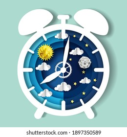 Paper cut craft style clock with day and night sky on dial, vector illustration. Sleep wake cycle. Circadian rhythm, internal body clock.