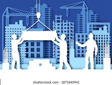 Paper cut craft style construction site with tower cranes, builder workers silhouettes, vector illustration. Building development. Construction industry.