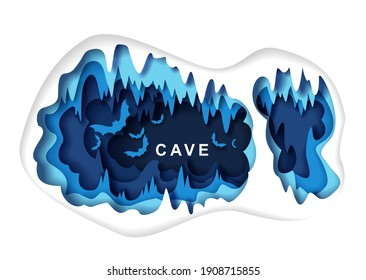 Paper cut craft style dark underground cave interior with bat silhouettes, vector illustration. Speleology or cave science, sport tourism, underground adventure. Geology.