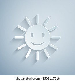 Paper cut Cute sun with smile icon isolated on grey background. Funny smiling sun. Happy sunny smile. Paper art style. Vector Illustration