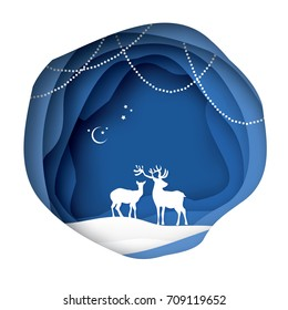 Paper cut deer couple in snowy nature. Merry Christmas Greeting card. Origami winter season. Happy New Year. Paper art style. Blue Circle cave layered frame. Garland and bauble. Vector illustration
