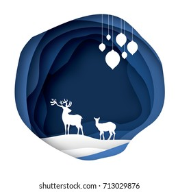 Paper cut deer couple in snowy nature. Merry Christmas Greeting card. Origami winter season. Happy New Year. Paper art style. Blue Circle cave layered frame. Garland. Vector