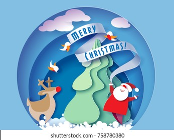Paper cut design and craft winter landscape with evergreen tree, reindeer, Santa, clouds. Holiday nature and christmas tree. Web banner. Vector illustration. Merry Christmas card. Vector illustration