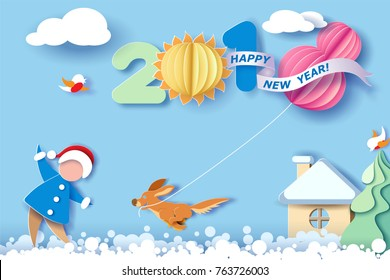 Paper cut design and craft winter landscape with christmas tree, birds, dog and digit 2018. Holiday New year and Merry Christmas card. Vector illustration