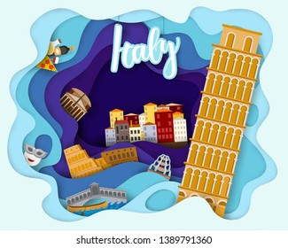 Paper cut design of Tourist Travel Italy