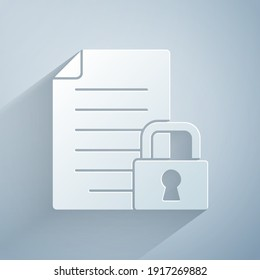 Paper cut Document and lock icon isolated on grey background. File format and padlock. Security, safety, protection concept. Paper art style. Vector