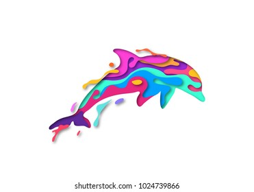 Paper cut dolphin shape 3D origami. Trendy concept fashion design. Vector illustration