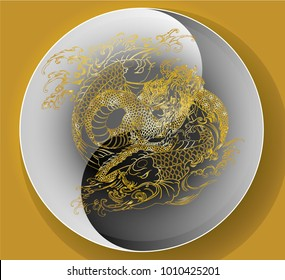 Paper cut Dragon and koi carp on Yin-Yang circle.Dragon and koi fish fighting and water splash.doodle art and zentangle style.