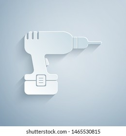 Paper cut Drill machine icon isolated on grey background. Paper art style. Vector Illustration