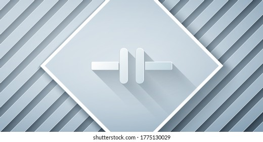 Paper cut Electric circuit scheme icon isolated on grey background. Circuit board. Paper art style. Vector Illustration