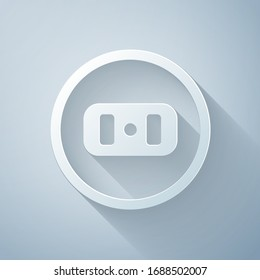 Paper cut Electrical outlet icon isolated on grey background. Power socket. Rosette symbol. Paper art style. Vector Illustration