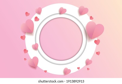 Paper cut elements in shape of heart  with circle frame with a greeting on pink and sweet  background. Vector symbols of love for Happy Valentine's Day, greeting card design.