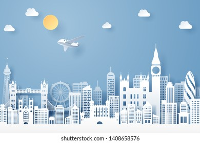 Paper cut of England  landmark, travel and tourism concept, eps 10 vector.