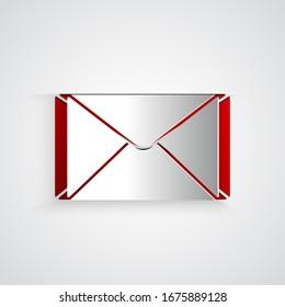Icône Enveloppe découpée en papier isolée sur fond gris. Symbole de lettre de message électronique. Style papier. Illustration vectorielle