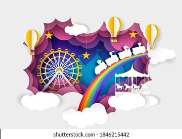 Paper cut ferris wheel, carousel, kids train, hot air balloons. Vector illustration in paper art style. Amusement park attractions, entertainment, carnival funfair.