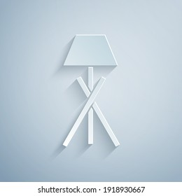 Paper cut Floor lamp icon isolated on grey background. Paper art style. Vector.
