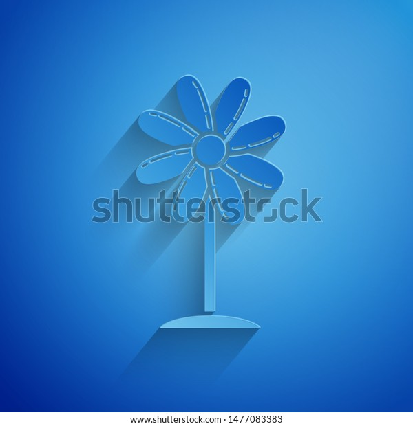Paper cut Flower icon isolated on blue background. Sweet natural food. Paper art style. Vector Illustration