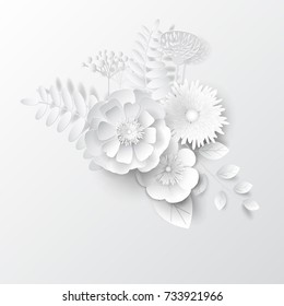 Paper cut flowers. Vector.