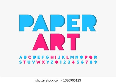 Paper cut font, alphabet letters and numbers vector illustration