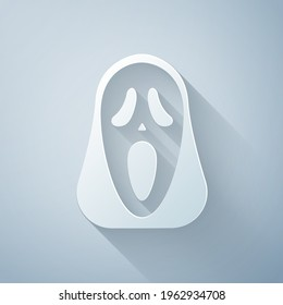 Paper cut Funny and scary ghost mask for Halloween icon isolated on grey background. Happy Halloween party. Paper art style. Vector