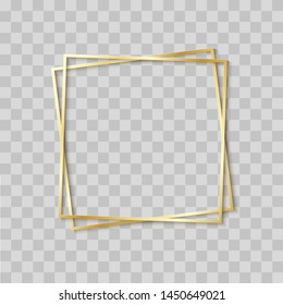 Paper cut gold frame with realistic shadow. Two golden inclined square frames lie one on another. Vector card illustration with place for selling advertising text. 3d banner on transparent background.
