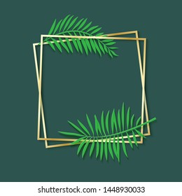 Paper cut gold frame with tropical leaves. Two golden square frames lie one on another. Vector card illustration with place for selling advertising text. Photoframe on green background.