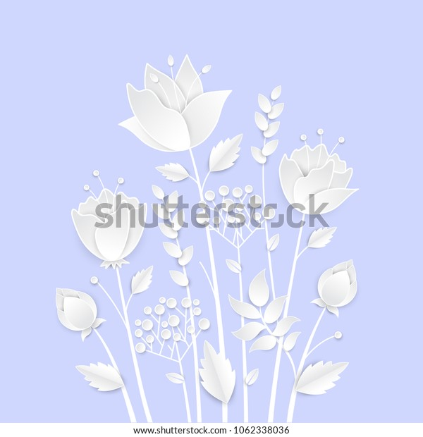 Paper cut growing flowers - modern vector colorful illustration on blue background. High quality greeting card, invitation template. Romantic composition with white floral decoration