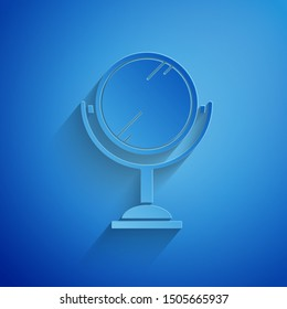Paper cut Hand mirror icon isolated on blue background. Paper art style. Vector Illustration