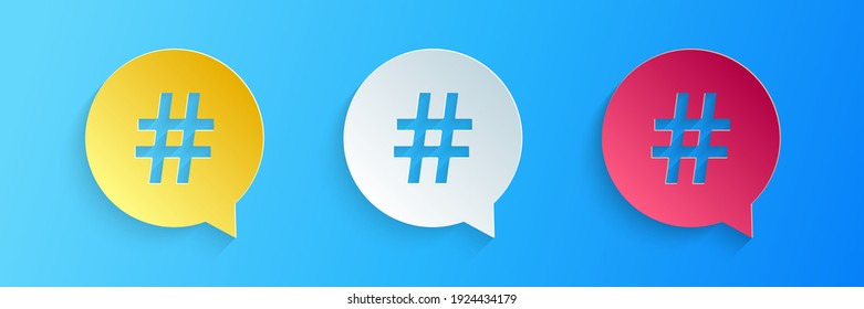 Paper cut Hashtag in circle icon isolated on blue background. Social media symbol, concept of number sign, social media, micro blogging pr popularity. Paper art style. Vector
