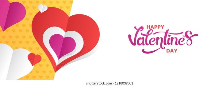 Paper cut heart decorated white background with stylish lettering of Valentines Day. Website header or banner design.