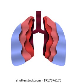 Paper cut human lungs on isolated background. Open lung organ for medicine concept.