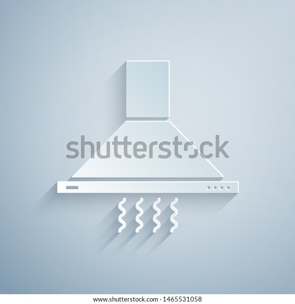 Paper Cut Kitchen Extractor Fan Icon Stock Vector (Royalty ...