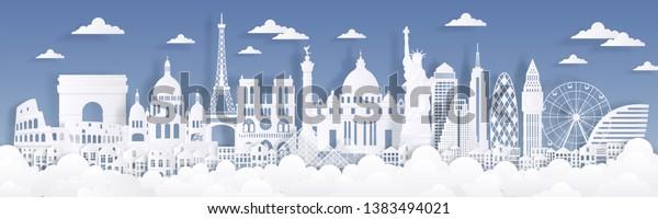 Paper cut landmarks. Travel the world background, skyline advertising card, Paris London Rome buildings silhouettes. Vector cityscape illustration
