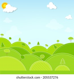 Paper cut landscape hill and tree illustration vector