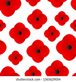 Paper cut Layered Poppy flowers Seamless pattern. Red poppies isolated on a white background. Bright floral backdrop for Remembrace Day, Anzac Day events, Memorial parade. Vector illustration