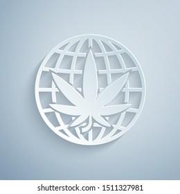 Paper cut Legalize marijuana or cannabis globe symbol icon isolated on grey background. Hemp symbol. Paper art style. Vector Illustration
