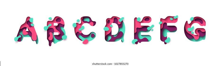 Paper cut letter A, B, C, D, E, F, G. Design 3d sign isolated on white background. Alphabet font of melting liquid.