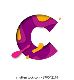 Paper cut letter C. Realistic 3D multi layers papercut effect isolated on white background. Colorful character of alphabet letter font. Decoration origami element for birthday or greeting design