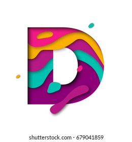 Paper cut letter D. Realistic 3D multi layers papercut effect isolated on white background. Colorful character of alphabet letter font. Decoration origami element for birthday or greeting design